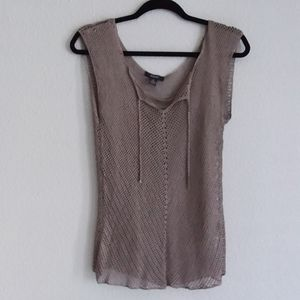 Alfani sleeveless macrame blouse womens size large